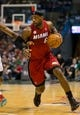Apr 25, 2013; Milwaukee, WI, USA; Miami Heat forward LeBron James (6) during game three of the first round of the 2013 NBA playoffs against the Milwaukee Bucks at BMO Harris Bradley Center.  Miami won 104-91.  Mandatory Credit: Jeff Hanisch-USA TODAY Sports