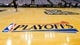 Apr 28, 2013; Milwaukee, WI, USA; The NBA Playoffs logo on the floor of prior to game four of the first round of the 2013 NBA playoffs between the Miami Heat and Milwaukee Bucks at the BMO Harris Bradley Center.  Miami won 88-77.  Mandatory Credit: Jeff Hanisch-USA TODAY Sports