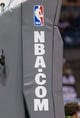 Apr 28, 2013; Milwaukee, WI, USA; The NBA.com logo on the basket during game four of the first round of the 2013 NBA playoffs between the Miami Heat and Milwaukee Bucks at the BMO Harris Bradley Center.  Miami won 88-77.  Mandatory Credit: Jeff Hanisch-USA TODAY Sports