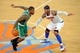 May 1, 2013; New York, NY, USA; Boston Celtics shooting guard Terrence Williams (55) dribbles against New York Knicks small forward Carmelo Anthony (7) during the second half in game five of the first round of the 2013 NBA Playoffs at Madison Square Garden. The Celtics won the game 92-86. Mandatory Credit: Joe Camporeale-USA TODAY Sports