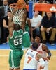 May 1, 2013; New York, NY, USA; Boston Celtics shooting guard Terrence Williams (55) dunks against the New York Knicks during the second half in game five of the first round of the 2013 NBA Playoffs at Madison Square Garden. Celtics won the game 92-86. Mandatory Credit: Joe Camporeale-USA TODAY Sports