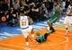 May 1, 2013; New York, NY, USA; Boston Celtics shooting guard Jason Terry (4) draws a foul against New York Knicks small forward Iman Shumpert (21) during the second half in game five of the first round of the 2013 NBA Playoffs at Madison Square Garden. Celtics won the game 92-86. Mandatory Credit: Joe Camporeale-USA TODAY Sports