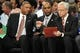 May 1, 2013; New York, NY, USA; Boston Celtics head coach Doc Rivers (left) coaches against the New York Knicks during the first half in game five of the first round of the 2013 NBA Playoffs at Madison Square Garden. Mandatory Credit: Joe Camporeale-USA TODAY Sports