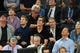 May 1, 2013; New York, NY, USA; Film actor Kevin Bacon (center) looks on at the New York Knicks and Boston Celtics game during the first half in game five of the first round of the 2013 NBA Playoffs at Madison Square Garden. Mandatory Credit: Joe Camporeale-USA TODAY Sports