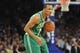 May 1, 2013; New York, NY, USA; Boston Celtics point guard Avery Bradley (0) dribbles against the New York Knicks during the first half in game five of the first round of the 2013 NBA Playoffs at Madison Square Garden. Mandatory Credit: Joe Camporeale-USA TODAY Sports