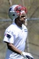 May 3, 2013; Foxboro, MA USA; New England Patriot rookie Quentin Hines walks onto the practice field during rookie minicamp at Gillette Stadium. Mandatory Credit: Bob DeChiara-USA TODAY Sports