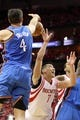 May 3, 2013; Houston, TX, USA; Houston Rockets point guard Jeremy Lin (7) loses control of the ball as Oklahoma City Thunder power forward Nick Collison (4) strips the ball during the second quarter in game six of the first round of the 2013 NBA Playoffs at the Toyota Center. Mandatory Credit: Troy Taormina-USA TODAY Sports