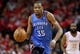 May 3, 2013; Houston, TX, USA; Oklahoma City Thunder small forward Kevin Durant (35) drives the ball on a fast brea during the fourth quarter against the Houston Rockets in game six of the first round of the 2013 NBA Playoffs at the Toyota Center. Mandatory Credit: Troy Taormina-USA TODAY Sports
