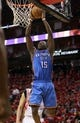 May 3, 2013; Houston, TX, USA; Oklahoma City Thunder point guard Reggie Jackson (15) attempts to score a basket during the third quarter against the Houston Rockets in game six of the first round of the 2013 NBA Playoffs at the Toyota Center. Mandatory Credit: Troy Taormina-USA TODAY Sports