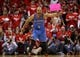 May 3, 2013; Houston, TX, USA; Oklahoma City Thunder point guard Derek Fisher (6) reacts after a play during the third quarter against the Houston Rockets in game six of the first round of the 2013 NBA Playoffs at the Toyota Center. Mandatory Credit: Troy Taormina-USA TODAY Sports