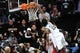 May 4, 2013; Brooklyn, NY, USA; Brooklyn Nets small forward Gerald Wallace (45) dunks against the Chicago Bulls during the second half in game seven of the first round of the 2013 NBA Playoffs at the Barclays Center. The Bulls won 99-93. Mandatory Credit: Joe Camporeale-USA TODAY Sports