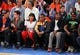 May 5, 2013; New York, NY, USA; New York Giants wide receiver Victor Cruz (center) watches the game during the second half of game one of the second round of the NBA Playoffs at Madison Square Garden. Mandatory Credit: Danny Wild-USA TODAY Sports
