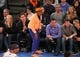May 5, 2013; New York, NY, USA; New York Knicks fan and director Spike Lee (standing) reacts to a call during the second half of game one of the second round of the NBA Playoffs at Madison Square Garden. Mandatory Credit: Danny Wild-USA TODAY Sports