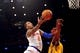 May 5, 2013; New York, NY, USA; New York Knicks shooting guard J.R. Smith (8) puts up a layup over Indiana Pacers center Roy Hibbert (55) during the first half of game one of the second round of the NBA Playoffs. Pacers won the game 102-95. Mandatory Credit: Joe Camporeale-USA TODAY Sports