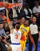 May 7, 2013; New York, NY, USA; New York Knicks power forward Kenyon Martin (3) puts up a layup over Indiana Pacers center Ian Mahinmi (28) during the first half in game two of the second round of the 2013 NBA Playoffs at Madison Square Garden. Knicks won the game 105-79. Mandatory Credit: Joe Camporeale-USA TODAY Sports