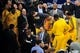 May 7, 2013; New York, NY, USA; Indiana Pacers head coach Frank Vogel talks to players during the first half in game two of the second round of the 2013 NBA Playoffs against the New York Knicks at Madison Square Garden. Knicks won the game 105-79. Mandatory Credit: Joe Camporeale-USA TODAY Sports