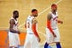 May 7, 2013; New York, NY, USA; New York Knicks point guard Raymond Felton (2), power forward Kenyon Martin (3), and small forward Carmelo Anthony (7) look on during the first half in game two of the second round of the 2013 NBA Playoffs at Madison Square Garden. Mandatory Credit: Joe Camporeale-USA TODAY Sports
