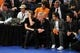 May 7, 2013; New York, NY, USA; Tennis legend John McEnroe (center) looks on during the first half in game two of the second round of the 2013 NBA Playoffs between the New York Knicks and Indiana Pacers at Madison Square Garden. Knicks won the game 105-79. Mandatory Credit: Joe Camporeale-USA TODAY Sports