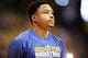 Apr 20, 2013; Denver, CO, USA;  Golden State Warriors guard Kent Bazemore (20) before game one of the first round of the 2013 NBA Playoffs against the Denver Nuggets at the Pepsi Center. Mandatory Credit: Chris Humphreys-USA TODAY Sports