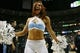 Apr 20, 2013; Denver, CO, USA; Denver Nuggets cheerleaders perform during the second half of game one of the first round of the 2013 NBA Playoffs against the Golden State Warriors at the Pepsi Center. The Nuggets won97-95.  Mandatory Credit: Chris Humphreys-USA TODAY Sports