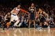 May 16, 2013; New York, NY, USA;  Indiana Pacers point guard D.J. Augustin (14) turns the ball from New York Knicks shooting guard J.R. Smith (8) during the fourth quarter of game five in the second round of the 2013 NBA Playoffs at Madison Square Garden. Knicks won 85-75.  Mandatory Credit: Anthony Gruppuso-USA TODAY Sports