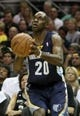 May 19, 2013; San Antonio, TX, USA; Memphis Grizzlies small forward Quincy Pondexter (20) shoots during the third quarter against the San Antonio Spurs in game one of the Western Conference finals of the 2013 NBA Playoffs at AT&T Center. Mandatory Credit: Troy Taormina-USA TODAY Sports