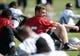 May 20, 2013; Alameda, CA, USA; Oakland Raiders quarterback Matt Flynn (15) stretches at organized team activities at the Raiders practice facility. Mandatory Credit: Kirby Lee-USA TODAY Sports