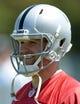 May 20, 2013; Alameda, CA, USA; Oakland Raiders quarterback Matt Flynn at organized team activities at the Raiders practice facility. Mandatory Credit: Kirby Lee-USA TODAY Sports
