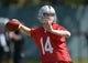 May 20, 2013; Alameda, CA, USA; Oakland Raiders quarterback Matt McGloin (14) throws a pass at organized team activities at the Raiders practice facility. Mandatory Credit: Kirby Lee-USA TODAY Sports