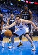 May 15, 2013; Oklahoma City, OK, USA; Oklahoma City Thunder power forward Nick Collison (4) reaches for the ball as Memphis Grizzlies power forward Zach Randolph (50) looks on during game five of the second round of the 2013 NBA Playoffs at Chesapeake Energy Arena. The Grizzlies defeated the Thunder 88-84. Mandatory Credit: Jerome Miron-USA TODAY Sports