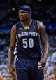 May 15, 2013; Oklahoma City, OK, USA; Memphis Grizzlies power forward Zach Randolph (50) reacts to a call during game five against the Oklahoma City Thunder in the second round of the 2013 NBA Playoffs at Chesapeake Energy Arena. The Grizzlies defeated the Thunder 88-84. Mandatory Credit: Jerome Miron-USA TODAY Sports