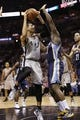 May 21, 2013; San Antonio, TX, USA; San Antonio Spurs guard Danny Green (4) puts up a shot against Memphis Grizzlies forward Zach Randolph (right) in game two of the Western Conference finals of the 2013 NBA Playoffs at AT&T Center. Mandatory Credit: Soobum Im-USA TODAY Sports