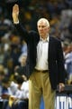 May 27, 2013; Memphis, TN, USA; San Antonio Spurs head coach Gregg Popovich in the second half of game four of the Western Conference finals of the 2013 NBA Playoffs against the Memphis Grizzlies at FedEx Forum.  The Spurs won 93-86.  Mandatory Credit: Spruce Derden-USA TODAY Sports