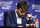 May 27, 2013; Memphis, TN, USA; Memphis Grizzlies center Marc Gasol reacts at a press conference after game four of the Western Conference finals of the 2013 NBA Playoffs against the San Antonio Spurs at FedEx Forum.  The Spurs won 93-86.  Mandatory Credit: Spruce Derden-USA TODAY Sports
