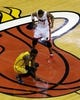 Jun 3, 2013; Miami, FL, USA;  Miami Heat center Chris Bosh (1) looks down at Indiana Pacers center Roy Hibbert (55) before the opening tipoff of game 7 of the 2013 NBA Eastern Conference Finals at American Airlines Arena. Mandatory Credit: Robert Mayer-USA TODAY Sports