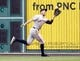 Jun 13, 2013; Pittsburgh, PA, USA; San Francisco Giants right fielder Hunter Pence (8) makes a running catch in the outfield against the Pittsburgh Pirates during the third inning at PNC Park. Mandatory Credit: Charles LeClaire-USA TODAY Sports