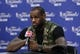 Jun 13, 2013; San Antonio, TX, USA; Miami Heat small forward LeBron James speaks at a postgame press conference following game four against the San Antonio Spurs in the 2013 NBA Finals at the AT&T Center. The Heat defeated the Spurs 109-93. Mandatory Credit: Soobum Im-USA TODAY Sports