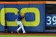 Jun 14, 2013; New York, NY, USA; New York Mets center fielder Juan Lagares (12) can't catch a bases-clearing triple by Chicago Cubs center fielder David DeJesus (not pictured) during the second inning of a game at Citi Field. Mandatory Credit: Brad Penner-USA TODAY Sports