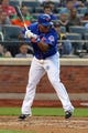 Jun 14, 2013; New York, NY, USA; New York Mets right fielder Marlon Byrd (6) is hit by a pitch during the second inning of a game against the Chicago Cubs at Citi Field. Mandatory Credit: Brad Penner-USA TODAY Sports