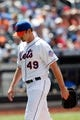 Jun 15, 2013; Flushing, NY,USA;  New York Mets starting pitcher Jonathon Niese (49) heads to the dugout after being relieved during the sixth inning against the Chicago Cubs at Citi Field.  Mandatory Credit: Anthony Gruppuso-USA TODAY Sports
