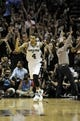 Jun 16, 2013; San Antonio, TX, USA;  San Antonio Spurs shooting guard Danny Green (4) celebrates hotting a three-point shot against the Miami Heat during the fourth quarter of game five in the 2013 NBA Finals at the AT&T Center. Mandatory Credit: Brendan Maloney-USA TODAY Sports