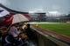 June 17, 2012; Atlanta, GA, USA; Atlanta Braves fans sit at the stadium during a rain delay before the game against the New York Mets at Turner Field. Mandatory Credit: Daniel Shirey-USA TODAY Sports