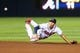 June 17, 2012; Atlanta, GA, USA; Atlanta Braves short stop Andrelton Simmons (19) tosses the ball to second for an out in the ninth inning against the New York Mets at Turner Field. Mandatory Credit: Daniel Shirey-USA TODAY Sports