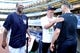 Jun 19, 2013; Bronx, NY, USA; Brooklyn Nets head coach Jason Kidd (center) meets with New York Yankees starting pitcher CC Sabathia (left) and starting pitcher Andy Pettitte (right) before the second game of a doubleheader between the Yankees and the Los Angeles Dodgers at Yankee Stadium. Mandatory Credit: Brad Penner-USA TODAY Sports