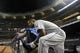 Jun 19, 2013; Bronx, NY, USA; Los Angeles Dodgers right fielder Yasiel Puig (66) sits on the top step of the dugout before taking the field against the New York Yankees for the bottom of the ninth inning of the second game of a doubleheader at Yankee Stadium. Mandatory Credit: Brad Penner-USA TODAY Sports