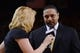May 16, 2013; Oakland, CA, USA; ESPN sideline reporter Doris Burke (left) interviews Golden State Warriors head coach Mark Jackson (right) during the third quarter in game six of the second round of the 2013 NBA Playoffs against the San Antonio Spurs at Oracle Arena. The Spurs defeated the Warriors 94-82.  Mandatory Credit: Kyle Terada-USA TODAY Sports
