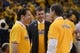 May 10, 2013; Oakland, CA, USA; Golden State Warriors co-owner Peter Guber (left), president and chief operating officer Rick Welts (center) and co-owner Joe Lacob (right) talk before game three of the second round of the 2013 NBA Playoffs against the San Antonio Spurs at Oracle Arena. The Spurs defeated the Warriors 102-92. Mandatory Credit: Kyle Terada-USA TODAY Sports
