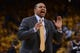 May 10, 2013; Oakland, CA, USA; Golden State Warriors head coach Mark Jackson instructs during the fourth quarter in game three of the second round of the 2013 NBA Playoffs against the San Antonio Spurs at Oracle Arena. The Spurs defeated the Warriors 102-92. Mandatory Credit: Kyle Terada-USA TODAY Sports