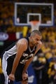 May 10, 2013; Oakland, CA, USA; San Antonio Spurs point guard Tony Parker (9) reacts during the fourth quarter in game three of the second round of the 2013 NBA Playoffs against the Golden State Warriors at Oracle Arena. The Spurs defeated the Warriors 102-92. Mandatory Credit: Kyle Terada-USA TODAY Sports