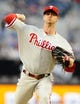June 25, 2013; San Diego, CA, USA; Philadelphia Phillies starting pitcher Kyle Kendrick (38) throws during the second inning against the San Diego Padres at Petco Park. Mandatory Credit: Christopher Hanewinckel-USA TODAY Sports